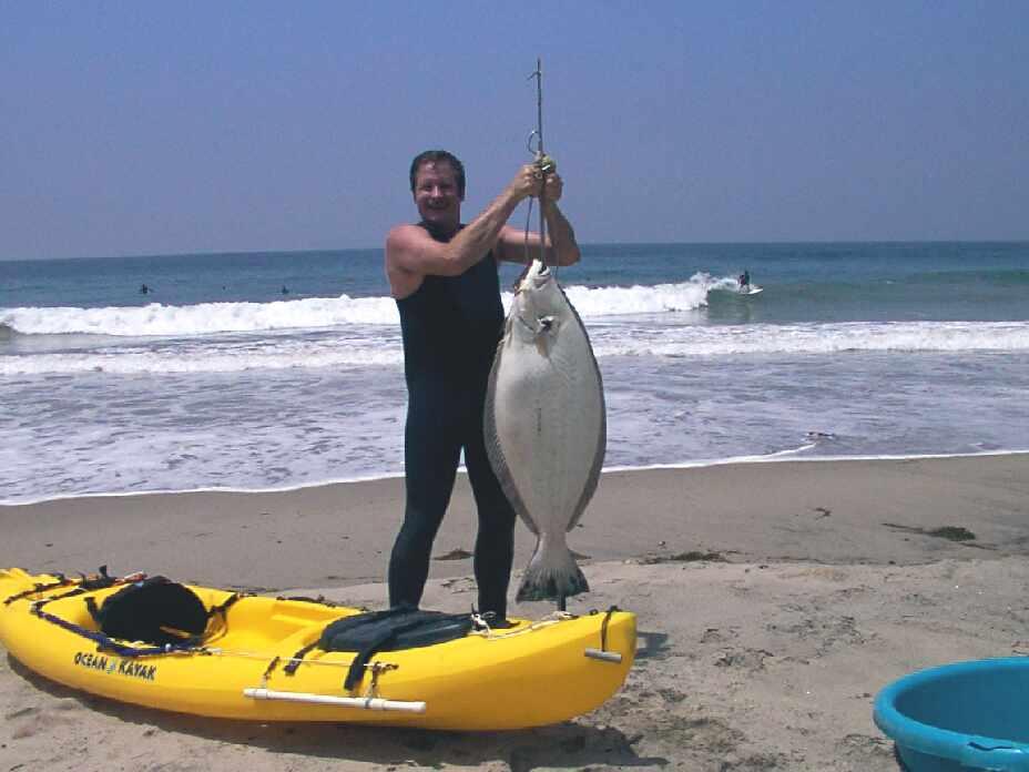 Kayak diving fishing surfing exploring and play for California halibut fishing